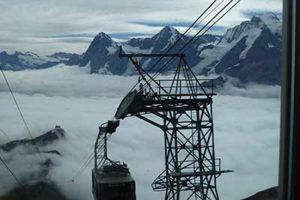 Breathtaking cable car descent from Schilthorn to Birg.