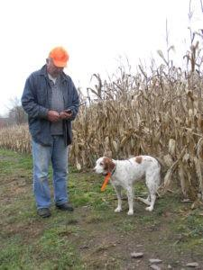 Freckles, a Brittany, is getting up there. She's a senior citizen in dog years. Her owner, Bob Williams, Lansdale PA, got a Garmin tracking collar so that he can let Freckles run and hunt, without fearing that she will get lost.